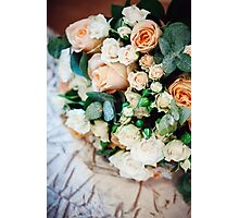 Bouquet with White and Cream Roses  Photographic Print