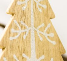Wood Christmas tree with ornament hanging on a branch Sticker