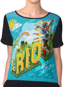 Brasil Rio Summer Infographic Isometric 3D Chiffon Top