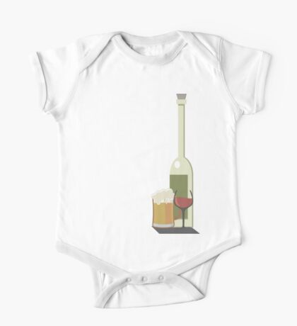 Wine Beer Alcohol One Piece - Short Sleeve