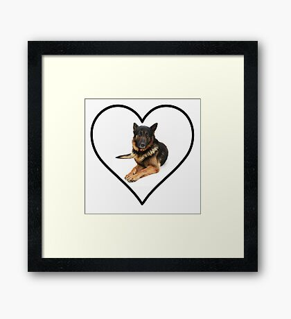 German Shepherd Heart Framed Print
