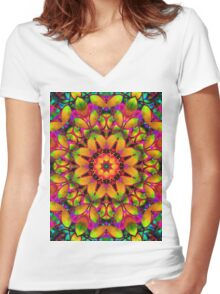 kaleidoscope Floral Abstract  Women's Fitted V-Neck T-Shirt