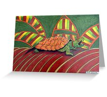 409 - ALLIGATOR SNAPPING TURTLE - DAVE EDWARDS - COLOURED PENCILS - 2014 Greeting Card