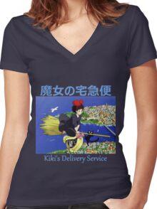 Kiki's Delivery Service - Kiki & Jiji - (Designs4You) - Studio Ghibli Women's Fitted V-Neck T-Shirt