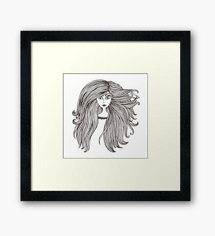 Girl with long beautiful hair Framed Print