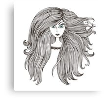 Girl with long beautiful hair Canvas Print