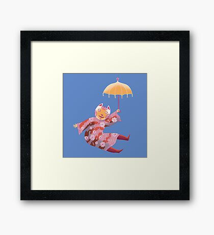 Magic Cat with Parasol Framed Print