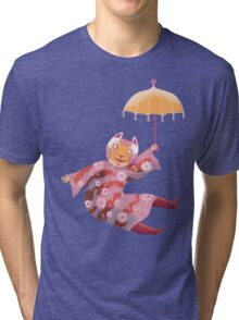 Magic Cat with Parasol Tri-blend T-Shirt