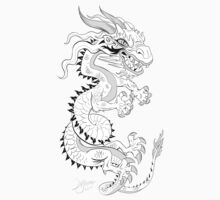 White Dragon on Red Kids Clothes