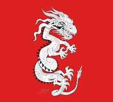 White Dragon on Red Unisex T-Shirt