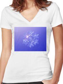 Sparkling Fractal Snowflake Women's Fitted V-Neck T-Shirt