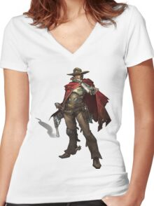 OVERWATCH MCCREE Women's Fitted V-Neck T-Shirt