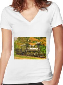 Old Train Engine Women's Fitted V-Neck T-Shirt