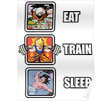 Eat, Train, Sleep (Goku Squat) Vertical Poster