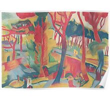 Impressionist Red Trees - Study Poster