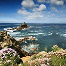 Cornwall - View to Armed Knight , Landsend by Angie Latham