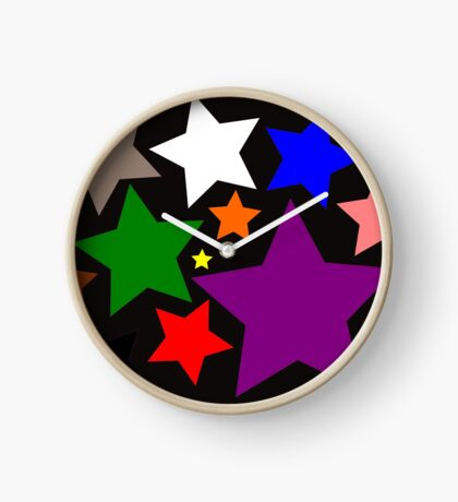 Black Rainbow Stars Clock