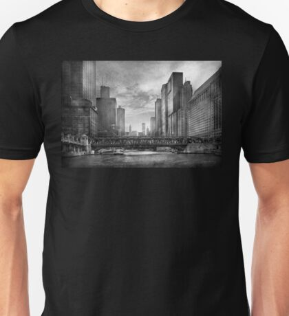 City - Chicago, IL - Looking toward the future - BW Unisex T-Shirt