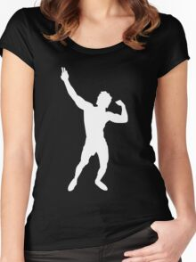 Zyzz Silhouette White Women's Fitted Scoop T-Shirt