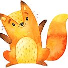 Cute little fox says hello and welcome by Sandra O'Connor
