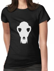 White Dog Skull Trophy Womens Fitted T-Shirt