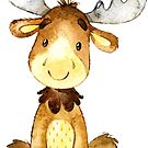 Little moose says hello and welcome watercolour by Sandra O'Connor