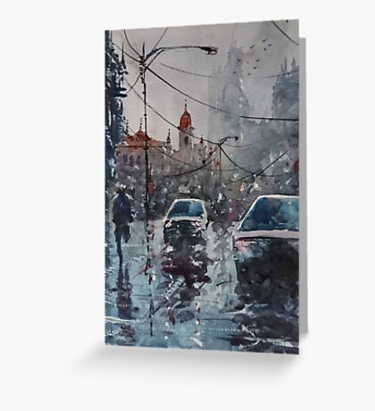 Streetscape watercolor Greeting Card
