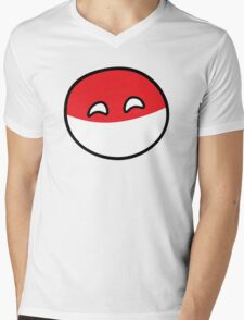 Polandball - Happy Poland Big Mens V-Neck T-Shirt