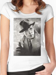 Humphrey Bogart Vintage Hollywood Actor Women's Fitted Scoop T-Shirt