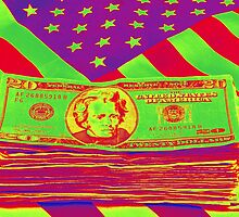 Stack of Money On American Flag Pop Art by KWJphotoart