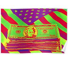 Stack of Money On American Flag Pop Art Poster