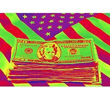 Stack of Money On American Flag Pop Art Photographic Print