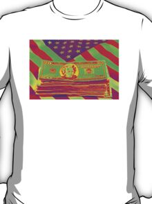 Stack of Money On American Flag Pop Art T-Shirt