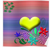 Heart with flowers Poster