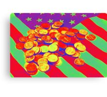 Pennies on American Flag Pop Art Canvas Print