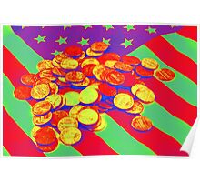Pennies on American Flag Pop Art Poster