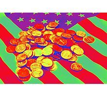 Pennies on American Flag Pop Art Photographic Print