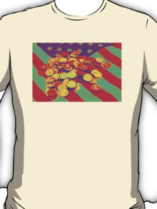 Pennies on American Flag Pop Art T-Shirt