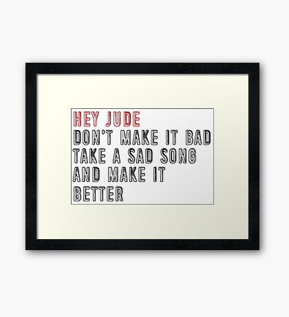 """Hey Jude"" by The Beatles Framed Print"