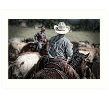Riding herd Art Print