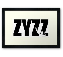 Zyzz Text Black Framed Print