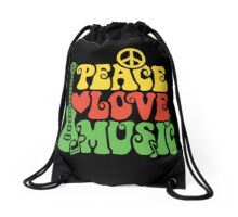 Reggae Peace Love Music Drawstring Bag