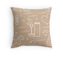 Vector illustration kids elements arranged in a heart: bird, whale, pacifier, bubbles, pyramid, beanbag, rabbit, duck and other. Throw Pillow