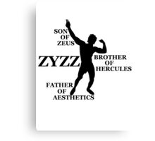 Zyzz Son of Zeus Black Canvas Print