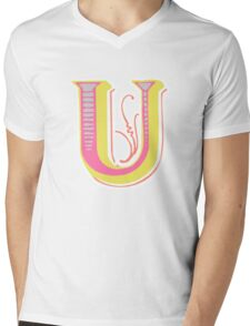 Alphabet letter U Mens V-Neck T-Shirt