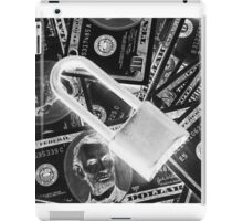 Black and White Padlock On Pile Of American Money iPad Case/Skin