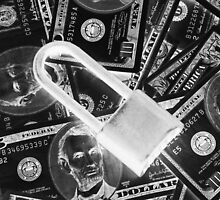 Black and White Padlock On Pile Of American Money by KWJphotoart
