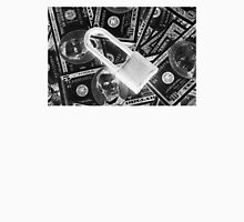Black and White Padlock On Pile Of American Money Unisex T-Shirt