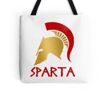 Gold and Red Spartan Helmet Tote Bag