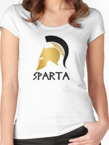 Gold and Black Spartan Helmet Women's Fitted Scoop T-Shirt